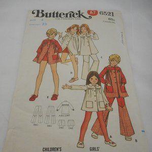 Vintage 1970s Girls cut Butterick pattern 6521